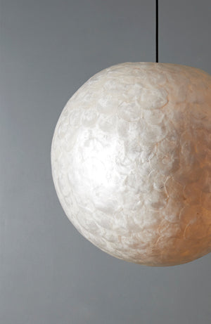 Mother of pearl ceiling light pendant white shell shade collectiviste lighting