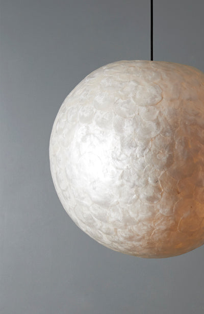 Globe pendant light, handmade from mother of pearl. 60cm extra large lamp shade.