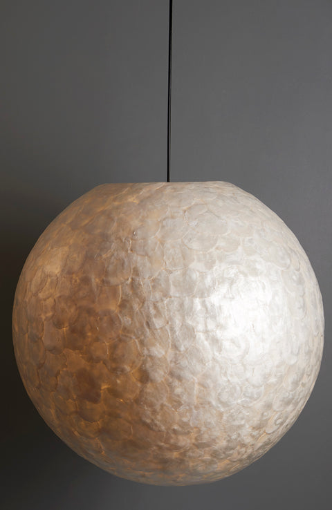 60cm lampshade globe - white mother of pearl. Handcrafted lighting by Collectiviste.