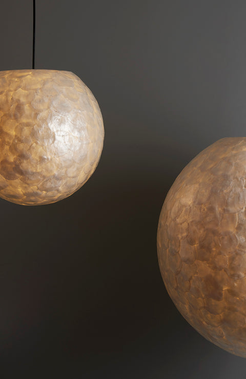 Unusual lampshades - 30cm and 60cm globe pendant lights, handmade from oyster shells. Hallway lighting ideas.