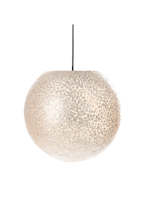 Elara white globe light shade. Mother of pearl finish.