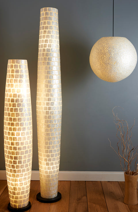 Large globe pendant and two tall living room floor lamps. All handcrafted with mother of pearl. Unique decorative lighting by Collectiviste.