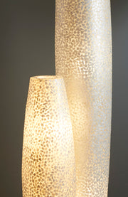 Tall white floor lamps - Elara by Collectiviste. Handcrafted mother of pearl standing lamps.