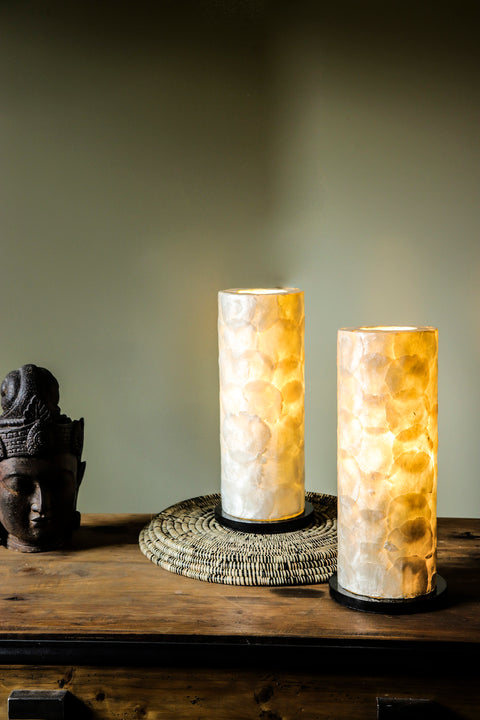 Tall bedside lighting (40cm) - Table Lamp Pair handmade with oyster shells by Collectiviste.