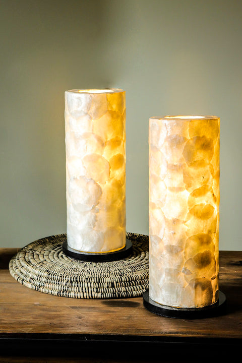 Cylinder Table Lamp Pair - 40cm Table Lamps - Handcrafted from Oyster Shells - Modern Bedside Lamps