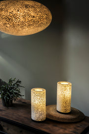 Unique statement lighting. Extra large oval ceiling light shade and pair of white table lamps. All handcrafted with mother of pearl fragments. Elara by Collectiviste.