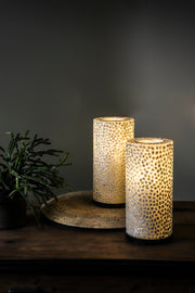 Pair of white table lamps, handcrafted from mother of pearl. Elara table lamp duo by Collectiviste.