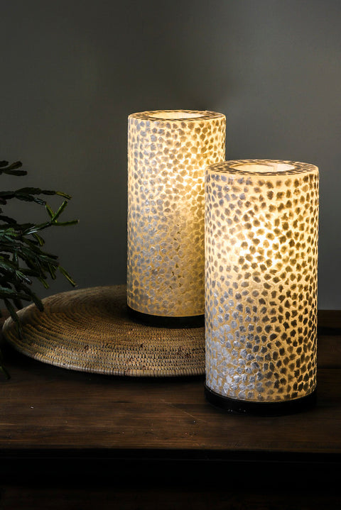 Pair of white table lamps, handcrafted from mother of pearl.