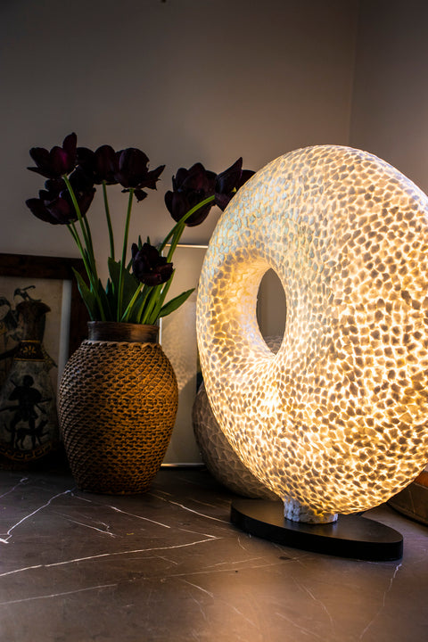 Gold feature lamp in unique torus shape - unique design handcrafted with golden mother of pearl. By Collectiviste lighting