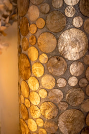 collectiviste lighting midas gold oyster shell, unusual floor lamp. Detailed close up.