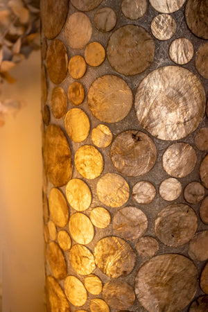 collectiviste lighting midas gold oyster shell unusual floor lamp detail