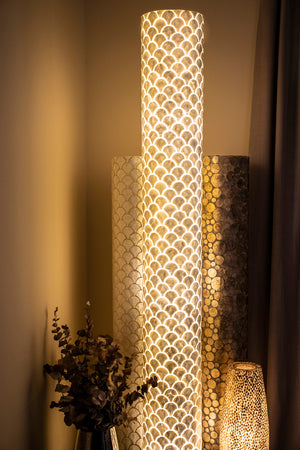 collectiviste lighting seville tall mother of pearl floor lamp - Unique handcrafted lighting