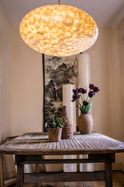 Over dining table lighting ideas:  60cm oval lamp shade - Handcrafted from oyster shells