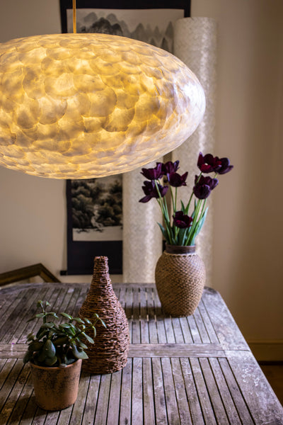 Over dining table lighting ideas: Unique 60cm oval lamp shade - Handcrafted from oyster shells