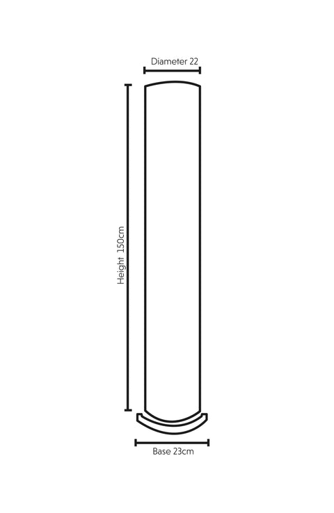 Dimension Illustration Geo Tall White Floor Lamp with wooden base 150cm