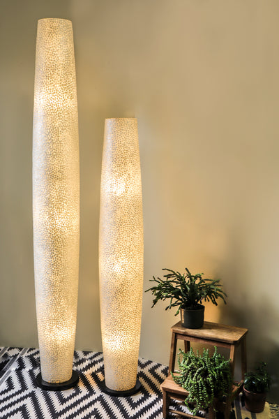 Tall white floor lamps - Elara by Collectiviste. Handcrafted mother of pearl tall lamps in two heights - 150cm and 200cm