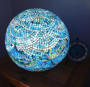 Bajau Blue Globe Lamp by Collectiviste - Unique mosaic Table Lamp