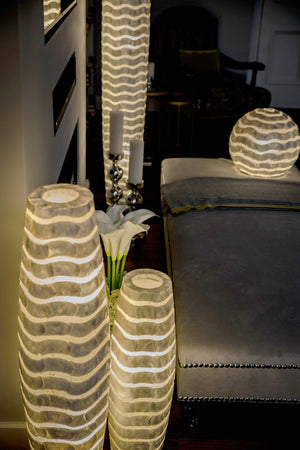 Mares Floor Lamp by Collectiviste - Unique Mother of Pearl Lights