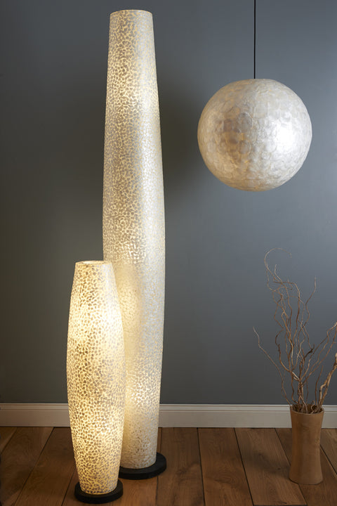 Elara Floor Lamps and Amroth Ceiling pendant by Collectiviste - Unique Mother of pearl Shell Lighting