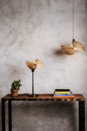 Bamboo table lamp and bamboo ceiling pendant. Kyoto bamboo lighting by Collectiviste.