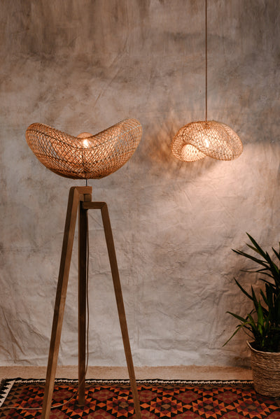 Wooden tripod floor lamp with contemporary rattan lampshade. Portobello rattan collection by Collectiviste lighting.