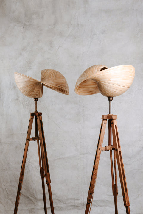Bamboo tripod floor lamp in two sizes. Kyoto bamboo lighting collection by Collectiviste.