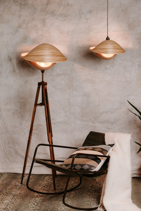 Naturally inspired bamboo lamp and lampshade by Collectiviste.