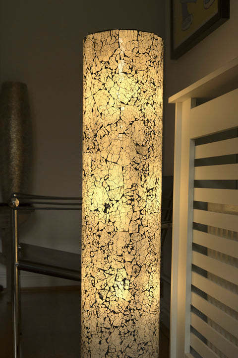 Amalthea floor lamp by Collectiviste. Handcrafted black and white frosted white glass floor lamp.