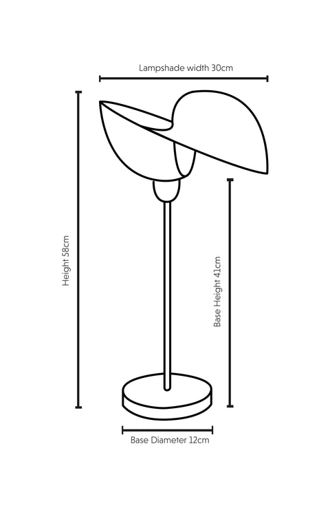 Dimensions of Kyoto bamboo lamp by Collectiviste.