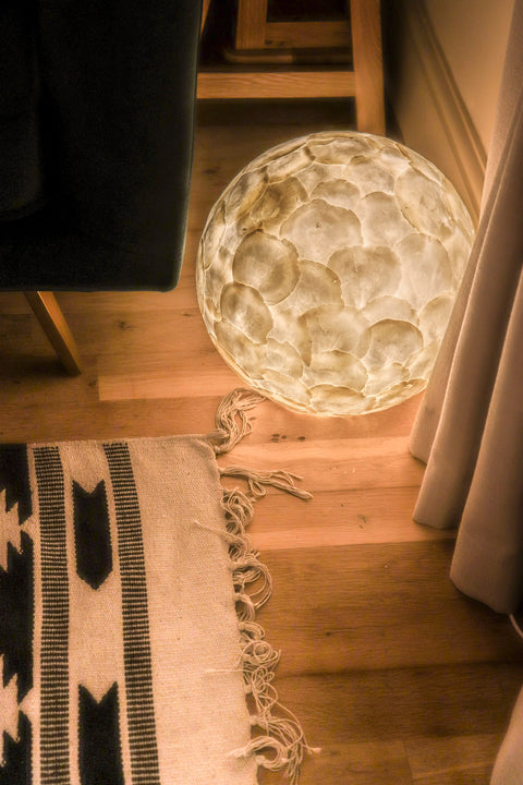 Designer Moon Lamp - 30cm Night Light - Mother of Pearl - Table & Bedside Lamp by Collectiviste