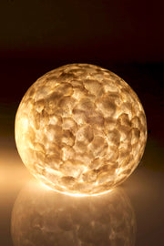 Designer Moon Lamp - 40cm Night Light - Mother of Pearl - Large Table Lamp by Collectiviste