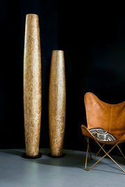 Callisto tall gold floor lamps by Collectiviste. 200cm and 150cm tall lamps.