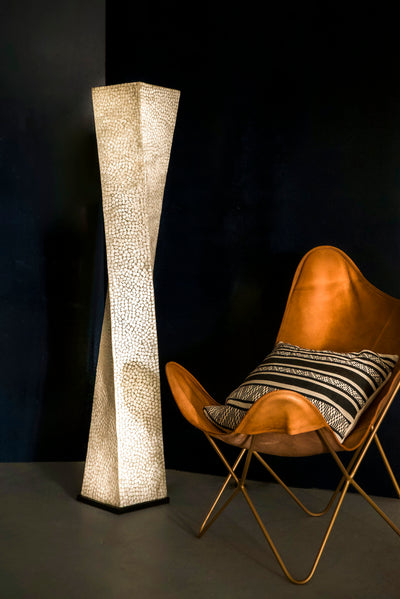 White Mother of Pearl Twisted Floor Lamp - Elara by Collectiviste