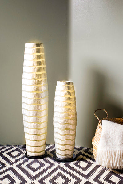 White floor lamps with mother of pearl wave pattern. Mares by Collectiviste.