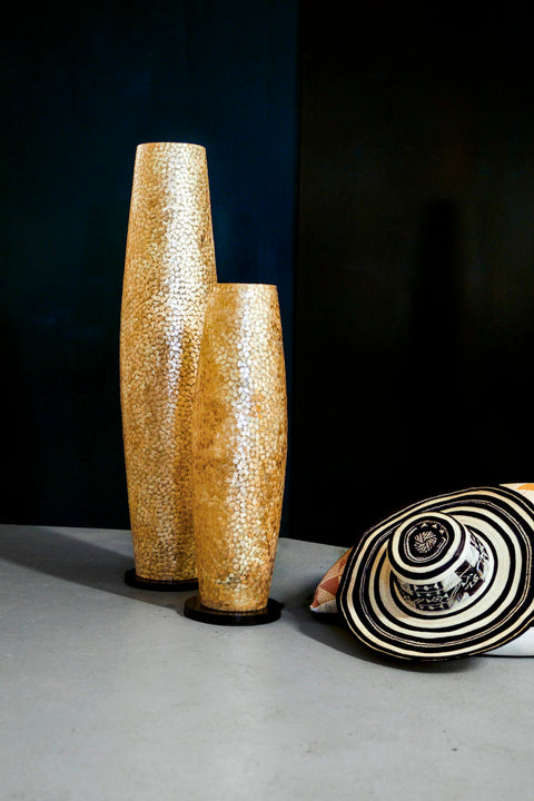Callisto floor lamp in 100cm and 70cm height by Collectiviste. Handcrafted gold shell floor lamp.
