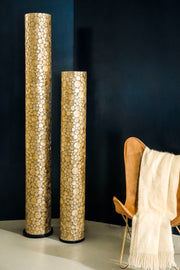 Gold cylinder floor lamps - Midas by Collectiviste. Handcrafted with gold oyster shells. 2 sizes - 150cm & 200cm