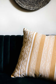 Luxury Cushion in ochre yellow, handwoven in Colombia. Sombrero by Collectiviste home decor.