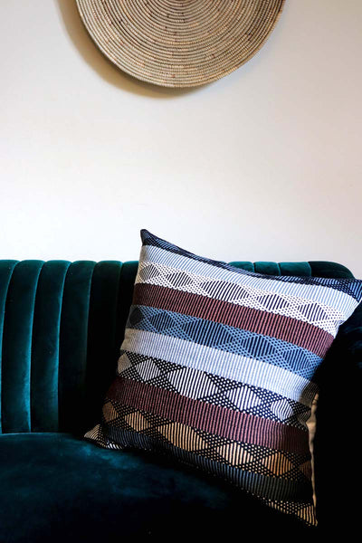 Luxury Cushion in red, blue and yellow, handwoven in Colombia. Rombo Red by Collectiviste home decor.