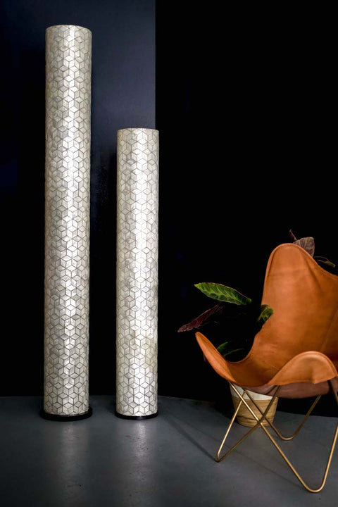 Tall floor lamp composed of mother of pearl shells in geometric diamond pattern. Contemporary Design. Light Off