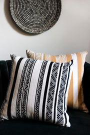 Sombrero design luxury cushion cover. Handwoven in Colombia. Available in black or yellow.  Collectiviste home decor.