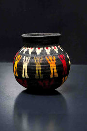 Black, Red and Yellow Wounaan Basket Vase. Handcrafted Werregue Basket by Wounaan Tribe, Colombia.