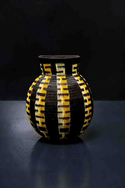 Black & Yellow Woven Basket Vase. Handcrafted Werregue Basket by Wounaan Tribe, Colombia