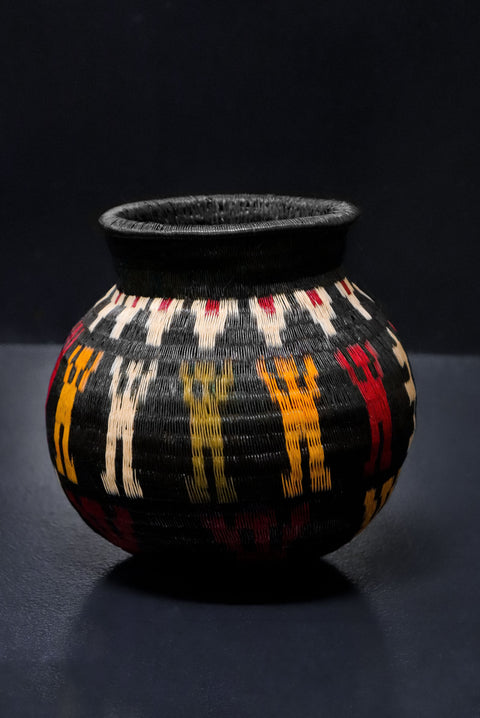 Black, Red and Yellow Wounaan Basket Vase. Handcrafted Werregue Basket by Wounaan Tribe, Colombia. Luxury Home Accessories by Collectiviste.