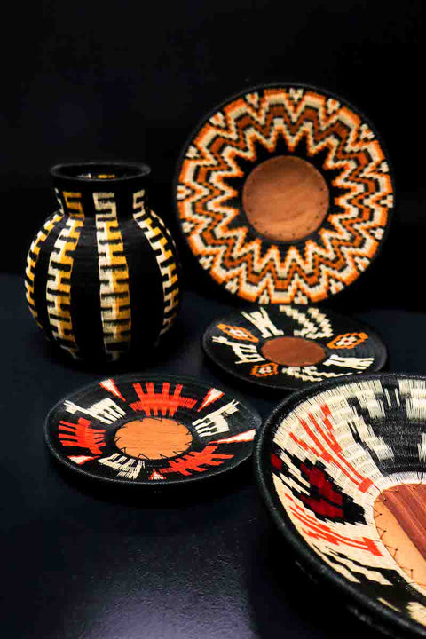 Woven Art: Werregue Basket and Display Plates by Wounaan Tribe, Colombia. Luxury Home Gift Ideas