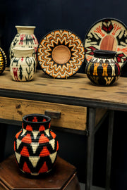 Assortment of Werregue woven decorative trays and vases, Handcrafted by Wounaan Tribe, Colombia. Luxury Home Accessories by Collectiviste.