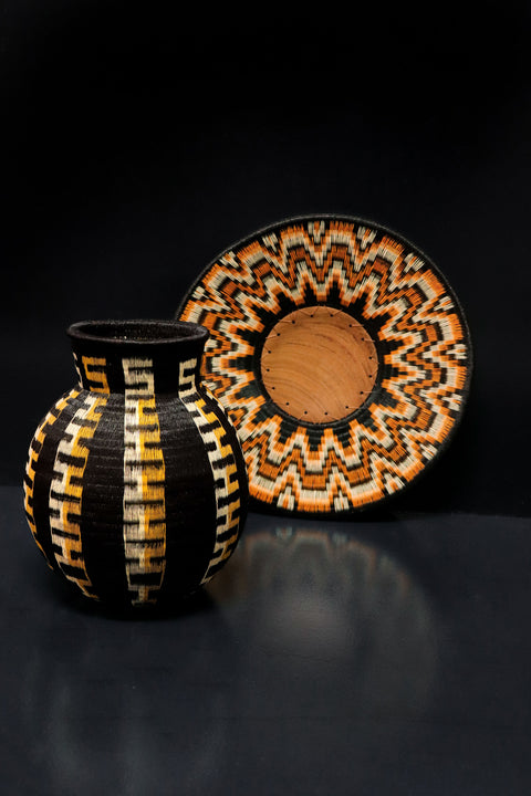 Indigenous Design - Werregue woven vase and display tray using black palm and rainforest pigments.