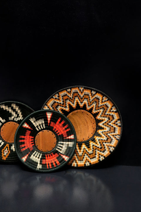 Amazing display trays handwoven by the Wounaan tribe in Colombia using natural palm fibres and pigments.