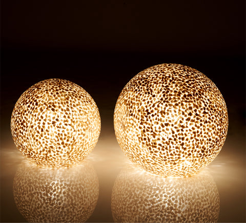 Gold globe table lamps 30cm and 40cm. Handmade from gold shells. Unique globe lamps by Collectiviste Lighting.