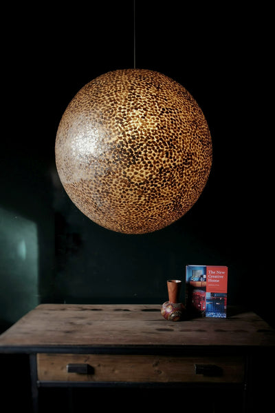 Extra large gold ceiling light made from gold oyster shells. Callisto by Collectiviste lighting.