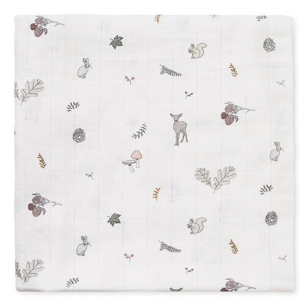 Swaddle, Muslin, Light, Printed - GOTS Fawn